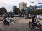 Hà Nội: Va chạm với Nissan X-Trail, xe tải bị lệch thùng hàng, phụ lái văng ra ngoài