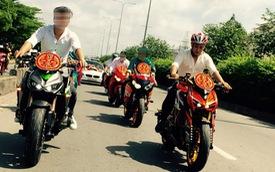 Đoàn rước dâu toàn mô tô phân khối lớn tại Sài Gòn