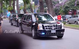 Cặp đôi Cadillac One của Tổng thống Obama nối đuôi nhau trên đường đến Phủ Chủ tịch