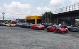 Hàng chục xe thể thao, siêu xe tụ tập tại Long An