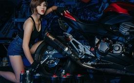 Nữ biker Việt khoe dáng cùng Kawasaki trong gara