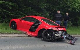 Thể hiện quá đà, siêu xe Audi R8 V10 gặp nạn kinh hoàng