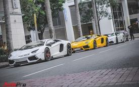 Dàn siêu xe Lamborghini 80 tỷ đồng tụ tập dịp cuối tuần tại Sài Gòn
