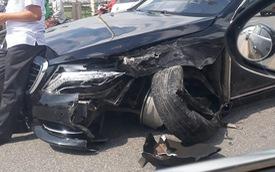 Xe sang bạc tỷ Mercedes-Benz S500 văng nguyên trục bánh sau cú va chạm mạnh với chiếc Corolla Altis ngược chiều