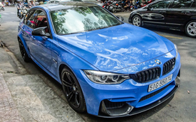 BMW M3 màu xanh Yas Marina độ carbon hàng độc lăn bánh trên phố Sài Gòn