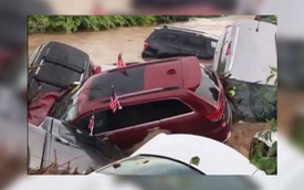 Clip: Lũ quét qua đại lý xe, hàng loạt SUV trôi sông nằm ngổn ngang