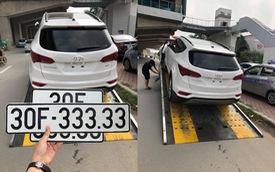 Bộ đôi Hyundai Santa Fe cùng mang biển ngũ quý tại Hà Nội, một chiếc chưa kịp sử dụng đã được rao 2,5 tỷ đồng