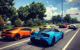 Cường Đô La cùng loạt đại gia Việt khoe dàn siêu xe trăm tỷ dịp cuối tuần