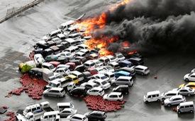 Hơn 100 xe mới toanh cháy tập thể vì siêu bão Jebi mạnh nhất Nhật Bản trong 25 năm qua