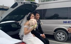 Tắc đường, cô dâu chú rể xuống chụp hình ngay giữa đường trên cao, thái độ của họ mới gây bất ngờ