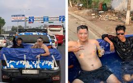 """Trời nắng nóng, 2 thanh niên thử một lần """"chơi lớn"""" với Ford Ranger khiến cả phố phải xôn xao"""