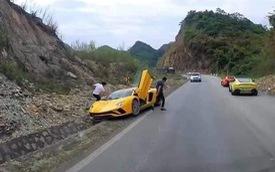 Fanpage Car Passion: 'Bò' Lamborghini Aventador S mất vài chiếc ốc nhỏ sau sự cố 'gặm cỏ bên đường'