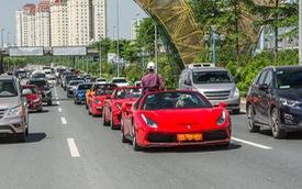 Dàn siêu xe, xe thể thao và xe siêu sang trị giá cả trăm tỷ diễu hành trên phố Hà Nội
