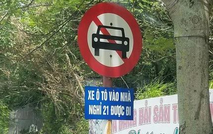 Bật cười với biển báo cấm ô tô nhưng nếu vào nhà nghỉ 21 thì được qua