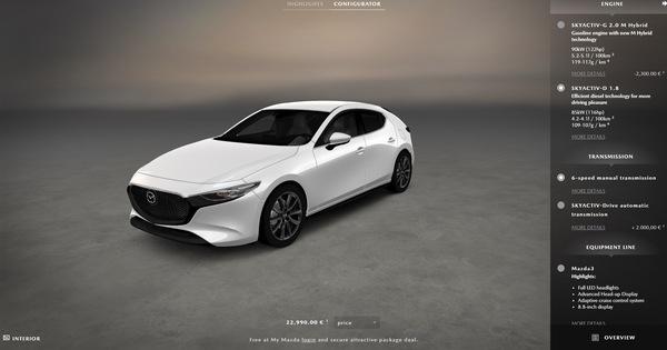Mazda bắt đầu cho phép khách hàng tự cấu hình, đặt xe Mazda3 2019