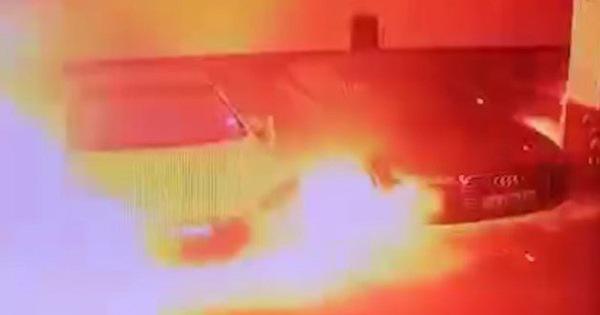 Tesla Model S tự bốc cháy khi đang đỗ nhưng cư dân mạng tiếc thương cho 2 chiếc Audi bên cạnh
