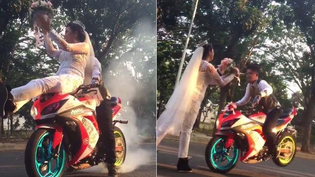 Cô dâu chú rể mặc áo cưới biểu diễn stunt và đốt lốp PKL cực chất
